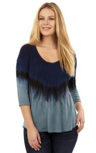 Tye Dye Jersey Knit Top In Blue