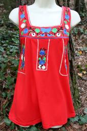 Mexican market Cotton Knit Top - Rojo
