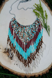 Drum Circle Extra Long Beaded Fringe Necklace