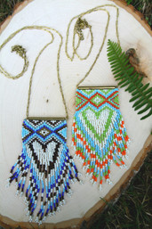 Navajo Love Peyote Stitch Fringe Necklace