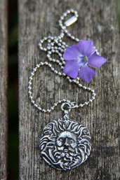 Green Man Pewter Necklace
