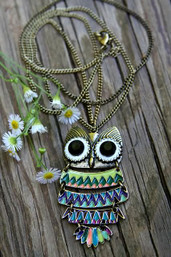 Rainbow Dangle Owl Enamel Necklace