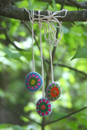 Rainbow Gypsy Crocheted Stone Necklace