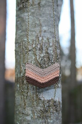 Serendipity Chevron Crochet & Chain Necklace - Earth