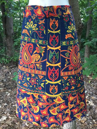 Vintage Hippie Indian Print Short Wrap Skirt