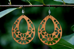 Folksy Floral Wooden Earrings