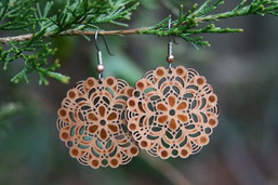 Forest Mandala Eco-Friendly Wooden & Copper Foil Earrings