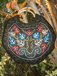 Folksy Floral Wood Handle Embroidered Purse - Moonlight