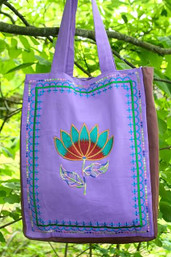 Lotus & Lavender Fair Trade Embroidered Bag