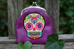 Sweet Sugar Skull Vegan Kiss Lock Coin Purse