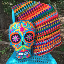 Sugar Skull Embroidered Decorative Pillow
