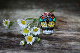 Vintage Sugar Skull Adjustable Ring
