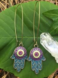 Peaceful Protection Hamsa Enamel Earings