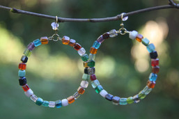 Kaleidoscope Beaded Hoop Earrings