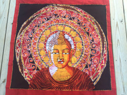 Fair Trade Buddha Mandala Batik Wall Hanging - Warm