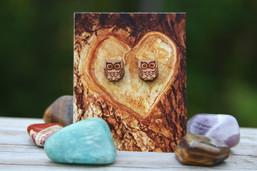 Forest Wisdom Wooden Owl Earrings