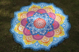 Rainbow Lotus Round Fringed Tapestry / Beach Blanket / Throw