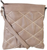 Khaki Quilt Pattern Soft Faux Leather Crossbody Messenger Shoulder Bag Handbag Purse