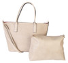 Matha 2 for 1 HandBag Set Soft Faux Leather Sand Beige Tote with Matching Leather Cosmetic Bag