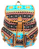 """16"""" Large Women's Canvas Backpack Padded Strap Drawstring Closure Leather Trim for Travel, Outdoor  - Native Brown"""