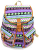 "16"" Large Women's Canvas Backpack Padded Strap Drawstring Closure Leather Trim for Travel, Outdoor -  Native Purple"