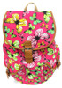 """16"""" Large Women's Canvas Backpack Padded Strap Drawstring Closure Leather Trim for Travel, Outdoor -  Butterfly"""