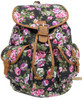 """16"""" Large Women's Canvas Backpack Padded Strap Drawstring Closure Leather Trim for Travel, Outdoor - Roses"""
