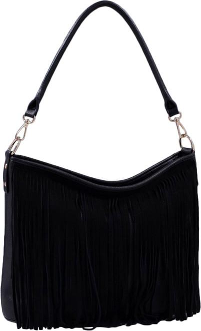 Black Faux Suede Western Fringe Tassels Handbag Celebrity Shoulder Bag