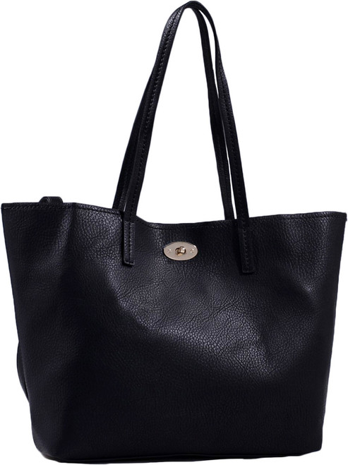 Black Classic Soft Faux Leather Celebrity Fashion Tote Handbag Purse