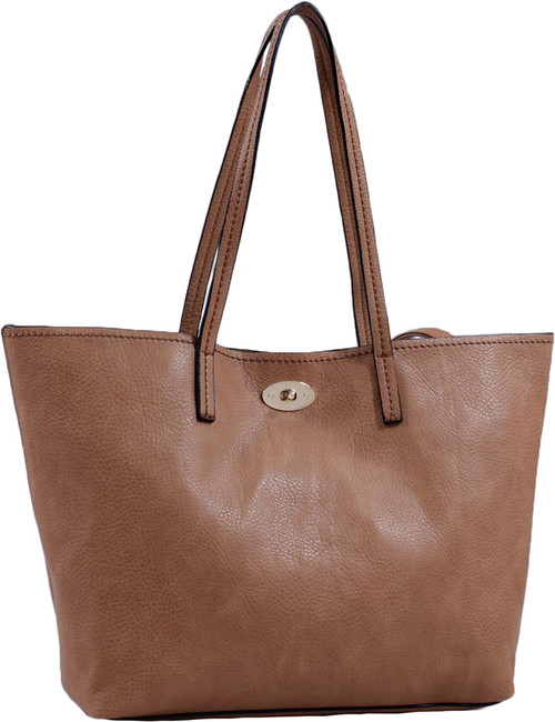Tan Classic Soft Faux Leather Celebrity Fashion Tote Handbag Purse