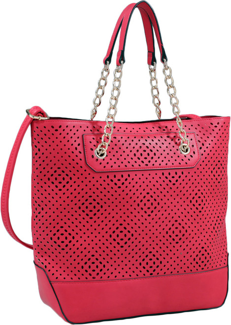 Red Front Diamond Perforated Soft Faux Leather Fashion Handbag Shop Tote Purse