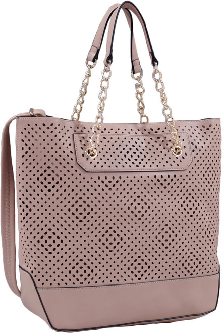 Taupe Front Diamond Perforated Soft Faux Leather Fashion Handbag Shop Tote Purse