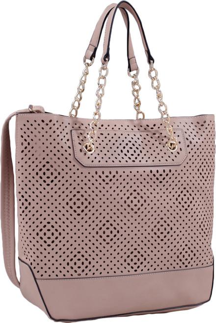 Taupe Front Diamond Perforated Soft Faux Leather Fashion Handbag Shop Tote Purse
