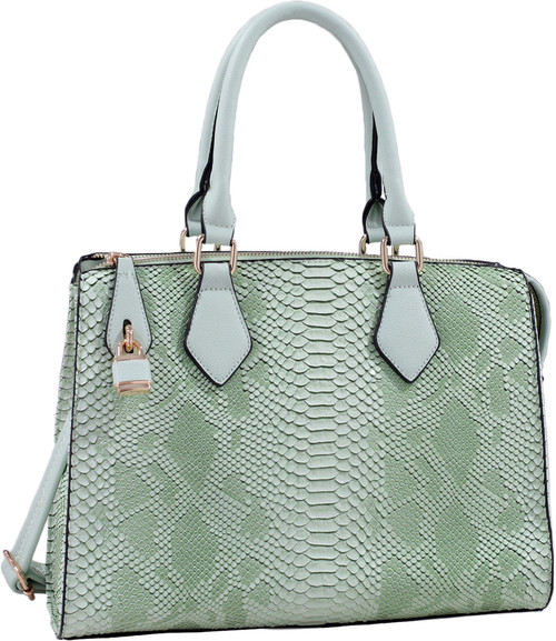 Light Green Vegan Leather Snakeskin Tote Fashion Handbag Shoulder bag Purse
