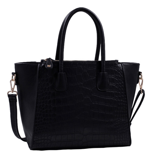 Isabelle Black Alligator Handbag Tote Purse with Adjustable Shoulder Strap