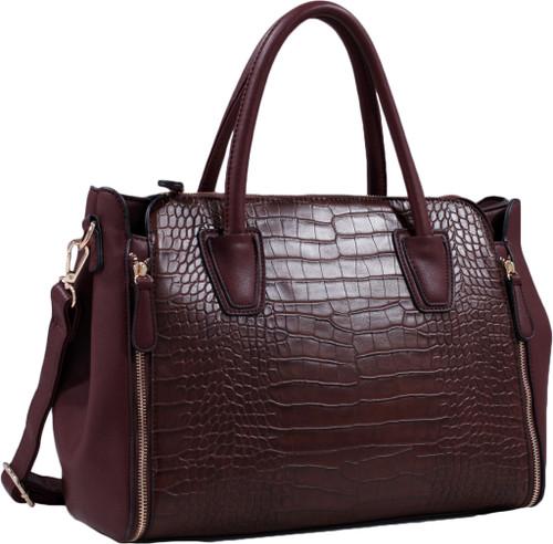 Coffee Alligator Print Soft Faux Leather Designer Tote Shop Handbag Shoulder Bag Purse