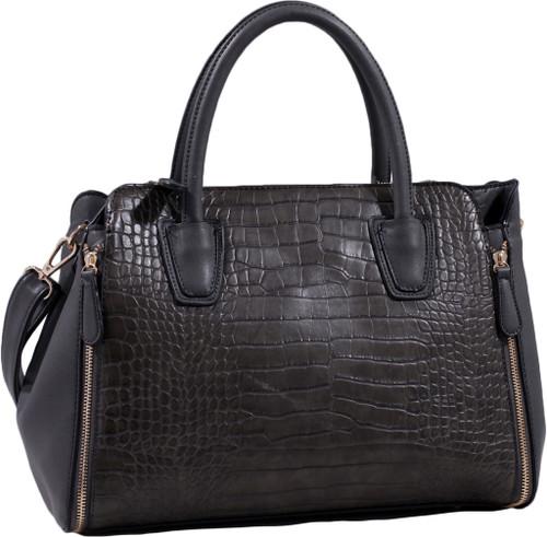 Gray Alligator Print Soft Faux Leather Designer Tote Shop Handbag Shoulder Bag Purse