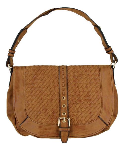 Tan Basketweave Celebrity Fashion Designer Hobo Handbag Shoulder Bag Purse