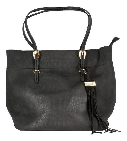 Black Alligator Embossed Soft Faux Leather Fashion Designer Shop Tote Handbag Purse