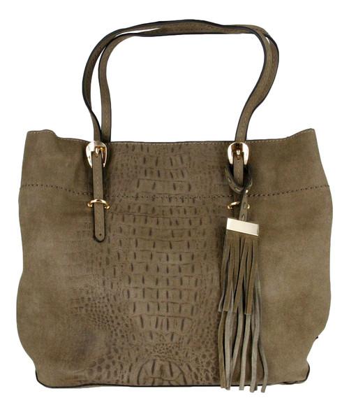 Taupe Alligator Embossed Soft Faux Leather Fashion Designer Shop Tote Handbag Purse