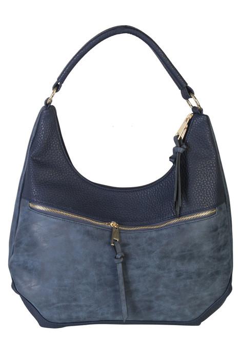 Navy Contrast Fade Wash Soft Faux Leather Shoulder Fashion Handbag hobo Purse