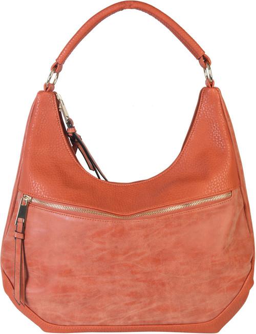 Orange Contrast Fade Wash Soft Faux Leather Shoulder Fashion Handbag Hobo Purse