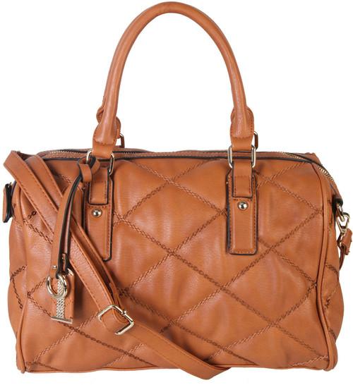 Brown Quilt Pattern Soft Faux Leather Shop Tote Shoulder Bag Handbag Purse
