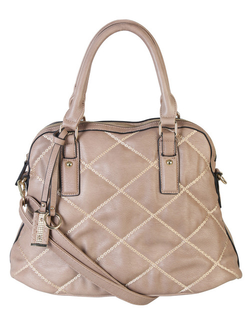 Khaki Quilt Pattern Soft Faux Leather Shop Tote Shoulder Bag Handbag Purse