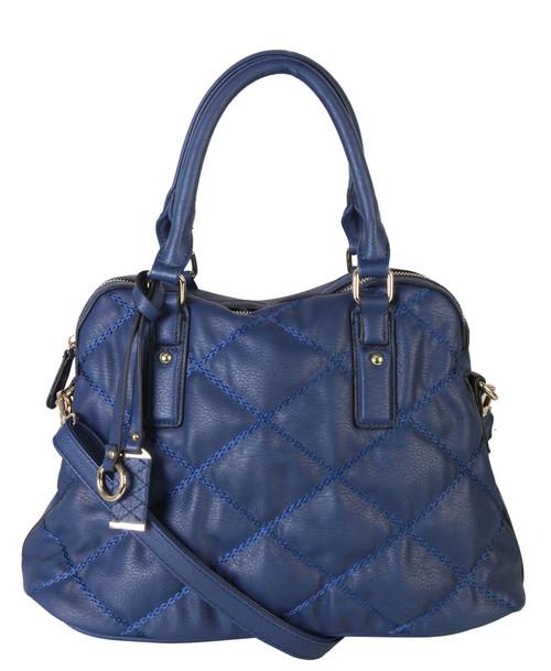 Navy Quilt Pattern Soft Faux Leather Shop Tote Shoulder Bag Handbag Purse