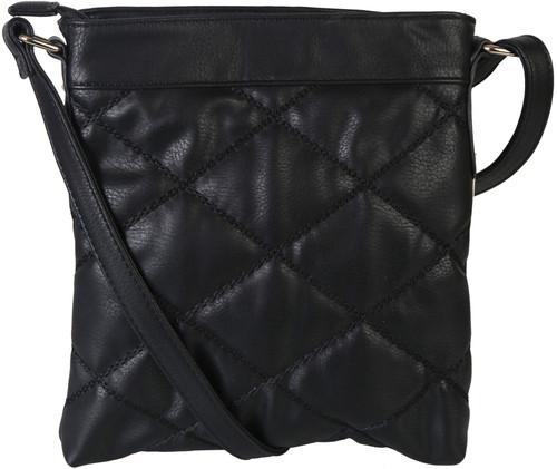 Black Quilt Pattern Soft Faux Leather Crossbody Messenger Shoulder Bag Handbag Purse