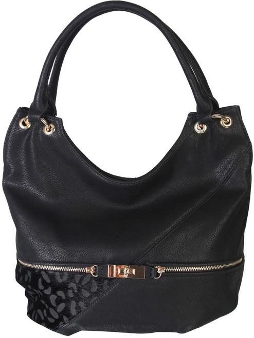 Black Faux Leather Patch of Leopard Print Shoulder Bag  Hobo Purse Handbag