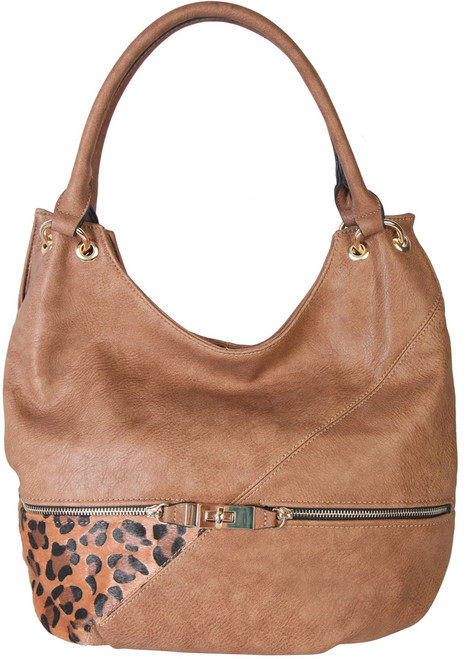 Brown Faux Leather Patch of Leopard Print Shoulder Bag  Hobo Purse Handbag