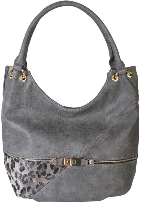 Gray Faux Leather Patch of Leopard Print Shoulder Bag  Hobo Purse Handbag