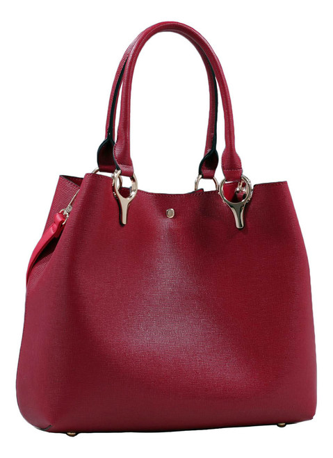 2 for 1 Handbag Set Burgundy Red Faux Leather Designer Shopping Tote and Cosmetic/Mini-Handbag Purse Shoulder bag